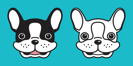 dog vector icon french bulldog cartoon character pug head smile illustration logo