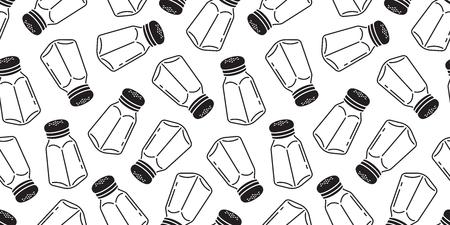 Pfeffer nahtloses Muster Salz Zucker Shaker Flasche isoliert Tapete Hintergrund