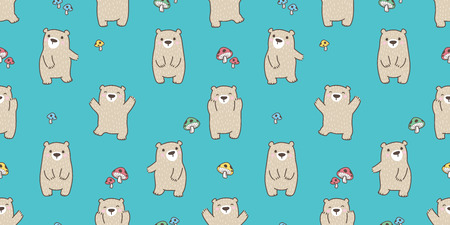 Bear seamless pattern vector polar bear teddy happy mushroom forest isolated background wallpaper Illustration