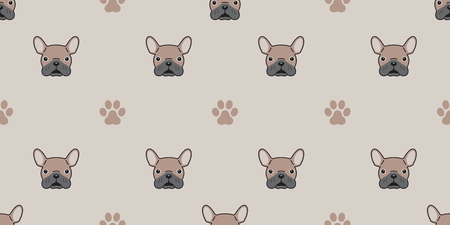 dog isolated french bulldog paw seamless pattern doodle wallpaper background brown Illustration