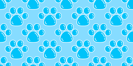 Dog Paw Seamless Pattern vector footprint Cat paw isolated bubble wallpaper background Illustration