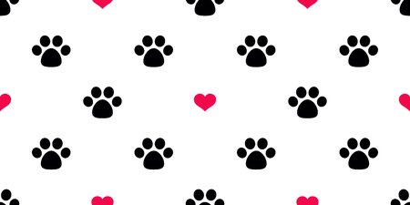 Dog Paw Seamless pattern vector heart valentine isolated Cat Paw red puppy kitten icon foot print wallpaper tile background illustration  イラスト・ベクター素材
