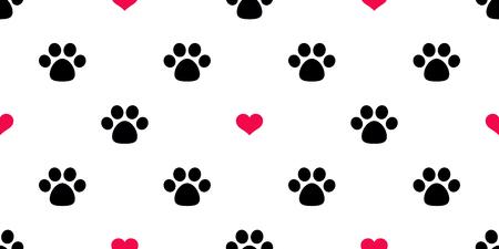 Dog Paw Seamless pattern vector cuore San Valentino isolato Cat Paw rosso cucciolo gattino icona piede stampa carta da parati piastrella sfondo illustrazione Vettoriali