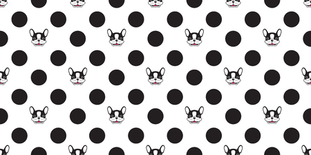 dog seamless pattern vector french bulldog polka dot isolated wallpaper background