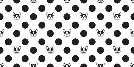 dog seamless pattern vector french bulldog polka dot isolated wallpaper background