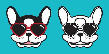 Dog vector french bulldog icon cartoon character smile logo heart sunglasses illustration