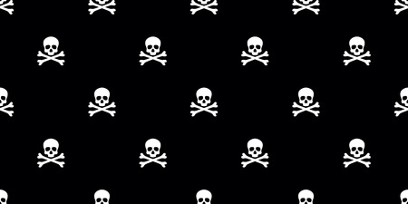 Skull pirate seamless pattern vector bone isolated wallpaper background