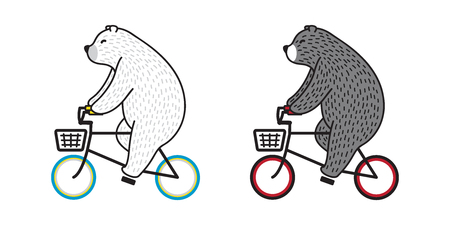 Bear vector Polar Bear ride bicycle cycling doodle illustration character cartoon Çizim