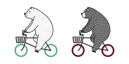 Bear vector Polar Bear ride bicycle cycling doodle illustration character cartoon Illustration
