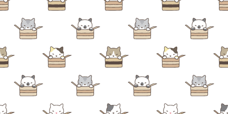 cat seamless pattern vector calico kitten isolated box breed wallpaper background