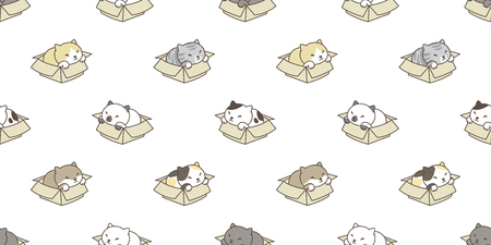 cat breed seamless pattern isolated box calico kitten wallpaper vector background