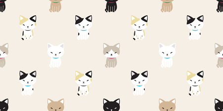 cat seamless pattern vector cat breed calico kitten isolated wallpaper background
