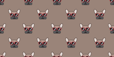 dog seamless pattern vector french bulldog isolated red sunglasses glasses wallpaper background illustration brown