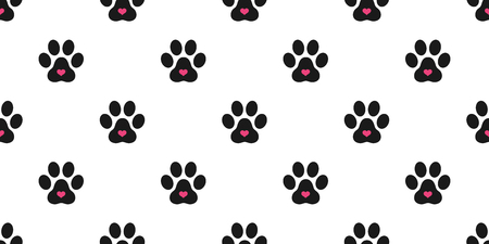 Dog Paw Seamless pattern vector valentine Cat Paw heart footprint isolated wallpaper background illustration