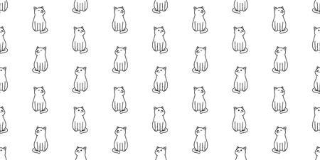 cat seamless pattern vector cat smile isolated wallpaper background white