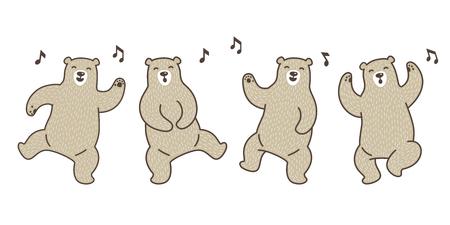 Bear vector Polar Bear dance sing a song doodle illustration character cartoon Vectores