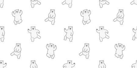 Bear seamless pattern polar bear vector isolated teddy dance wallpaper background white