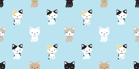 cat seamless pattern vector kitten cat breed isolated wallpaper background