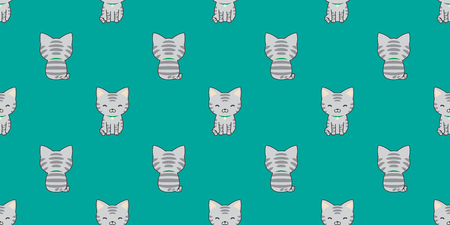 cat seamless pattern isolated calico kitten vector wallpaper background