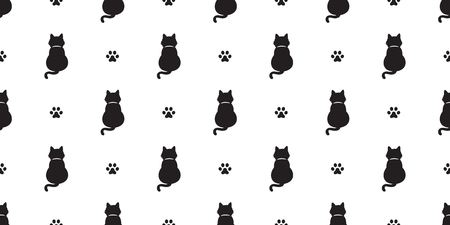Cat seamless pattern vector kitten Cat paw scarf isolated tail doodle wallpaper background