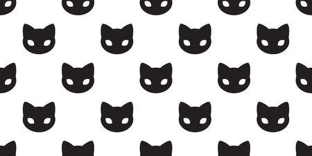 Cat seamless pattern vector kitten Cat paw isolated doodle wallpaper background