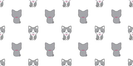 Cat seamless pattern vector calico kitten doodle illustration isolated wallpaper background Ilustração