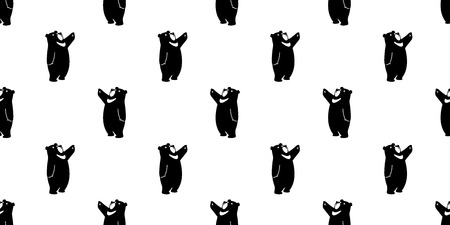 Bear seamless pattern vector polar bear panda isolated teddy background wallpaper
