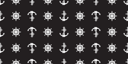Anchor helm seamless pattern vector Nautical maritime sea ocean boat isolated background black
