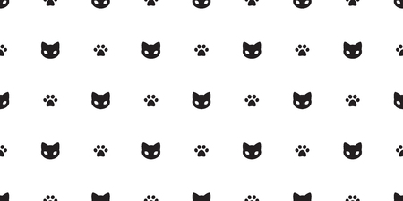 Cat seamless pattern vector kitten Cat paw isolated doodle white wallpaper background