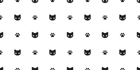 Chat vecteur modèle sans couture chaton patte de chat isolé doodle fond d'écran blanc
