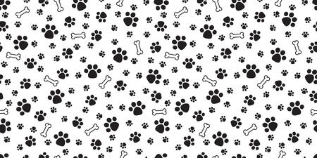 Hueso de perro de patrones sin fisuras vector pata de perro doodle fondo de pantalla aislado