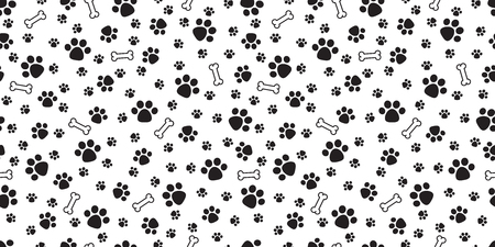 Dog Bone Seamless pattern vector dog paw doodle isolated wallpaper background
