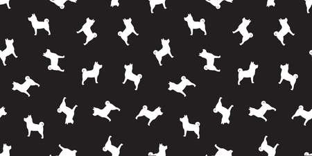 dog seamless pattern french bulldog vector pug dog breed isolated black wallpaper background doodle cartoon