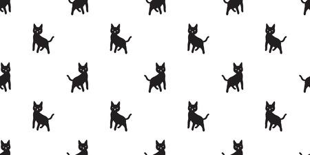 cat seamless Pattern vector kitten Halloween isolated wallpaper cartoon background