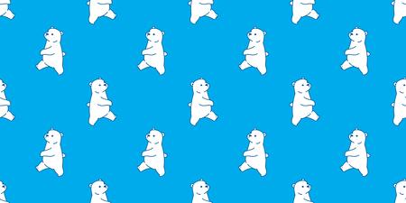 Bear seamless pattern vector polar bear panda isolated teddy walk wallpaper background blue Illustration