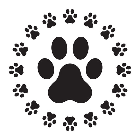 Dog Paw logo icon paw vector cat paw illustration cartoon graphic