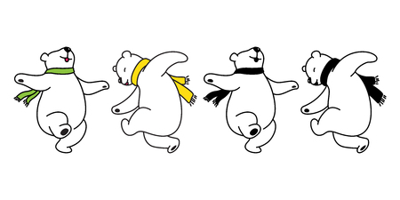 Bear vector logo icon polar bear panda dancing teddy illustration cartoon doodle cute