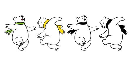Oso vector logo icono oso polar panda bailando peluche ilustración dibujos animados doodle lindo