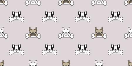 Dog Seamless pattern french bulldog pug vector dog bone paw bone isolated repeat background wallpaper cute
