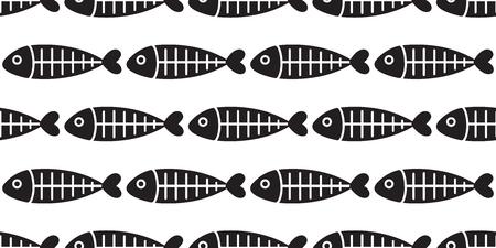 fish seamless pattern vector fish bone shark fin salmon isolated repeat background tile wallpaper backdrop Vektoros illusztráció