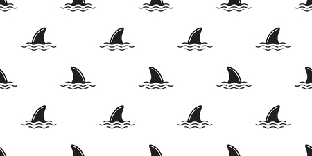 shark fin seamless pattern vector dolphin isolated whale sea ocean wave island beach tropical summer repeat background tile wallpaper