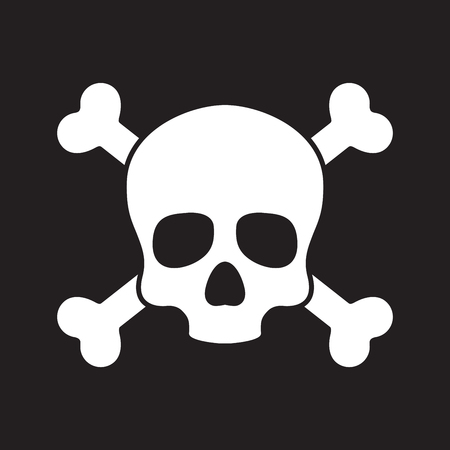 Skull pirate icon logo vector cross bone Halloween illustration graphic symbol Illustration