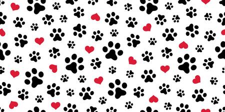 Hund Pfote nahtlose Muster Vektor Herz isoliert Schal Valentinsgruß Tapete wiederholen Hintergrund