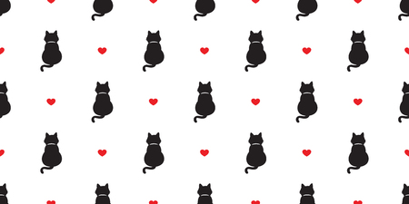 Cat vector seamless pattern heart icon kitten valentine day doodle isolated background repeat wallpaper