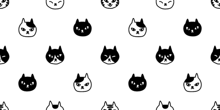 cat breed seamless pattern cat head vector isolated wallpaper repeat background black
