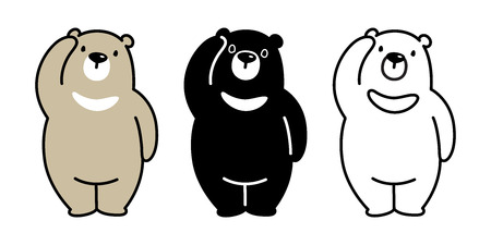 Bear vector polar bear character cartoon logo icon panda teddy illustration doodle Çizim