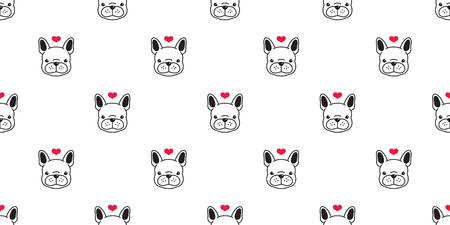 Dog seamless pattern french bulldog vector bone pug head heart valentine isolated wallpaper white