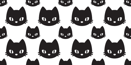 cat seamless pattern vector kitten head isolated repeat background tile wallpaper