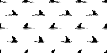 shark fin seamless pattern dolphin vector isolated whale sea ocean wave island beach tropical summer background tile wallpaper Vectores