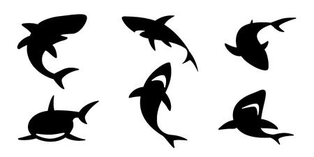 Hai Vektor Icon Logo Delphin Wal Cartoon Charakter Ozean Welle Illustration Grafik